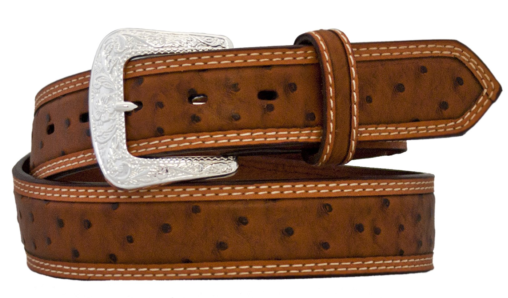 Silver Canyon Mens 1.5'' Leather Embossed Ostrich Print with Accent Edge Peanut Brittle Belt, 36