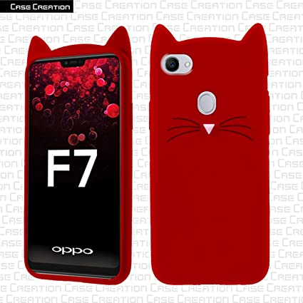 low priced e2c0a 7b4d1 Case Creation Trending Stylish Cat Cover Silicon Soft Back Cover All Round  360 Protection Case for Oppo F7 (6.23 inch)(Color RED)