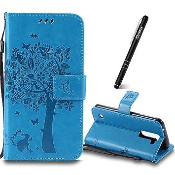 835c3422381 LG K7 caso, slynmax con tapa en relieve árbol gato mariposas patrón Ultra  Thin Bookstyle Folio ...