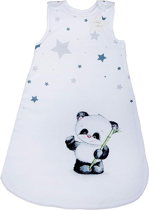 Herding Baby Best Baby-Schlafsack Seitlich umlaufender Rei/ßverschluss und Druckkn/öpfe 90 cm Wei/ß Panda Motiv