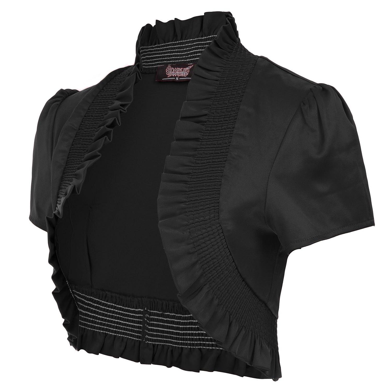 Women Gothic Vintage Cap Sleeve Ruffled Satin Shrug SL000001