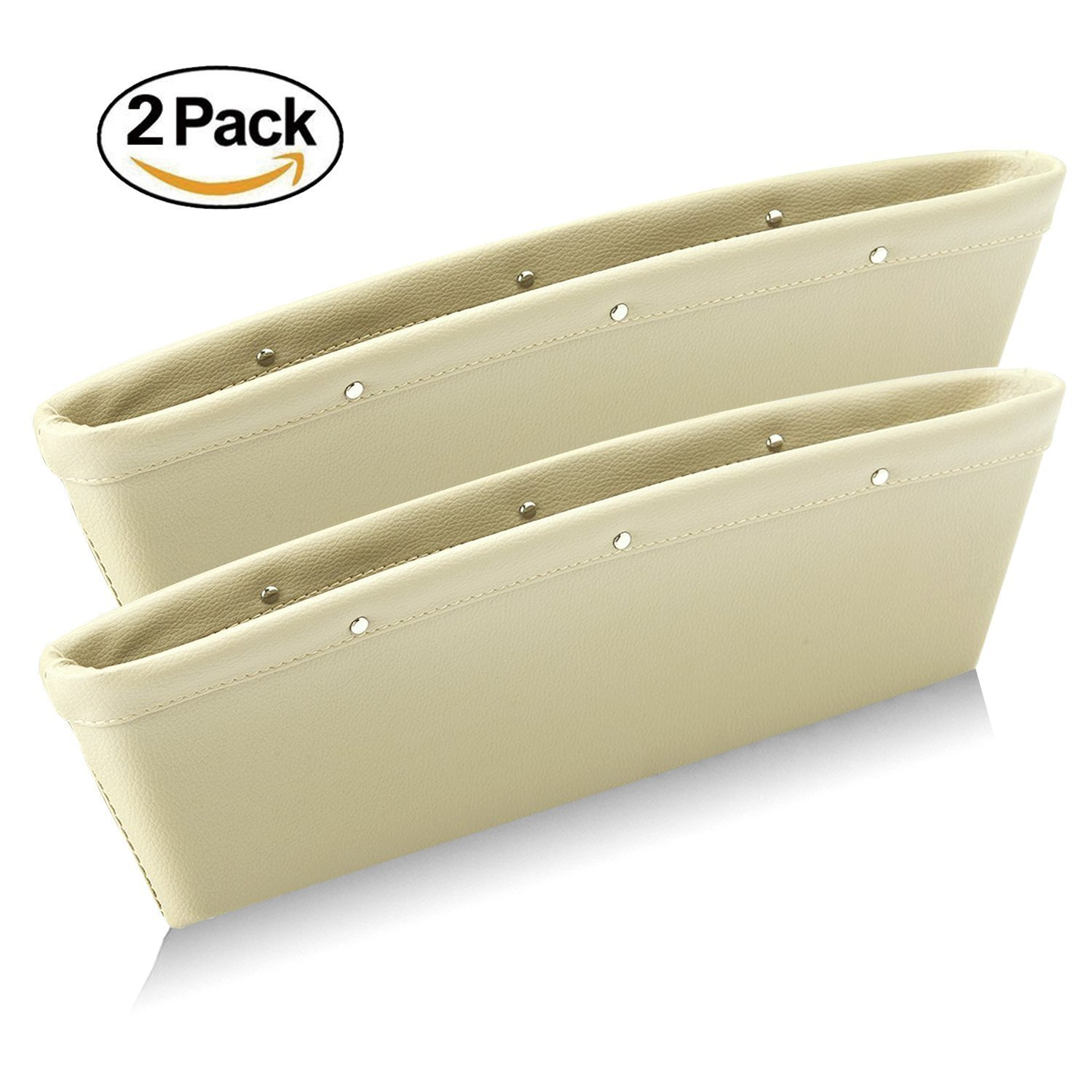 Leather Car Seat Gap Filler, Fubarbar Car Seat Side Console Slit Caddy Catcher Storage Box Pad Pocket Premium Quality Leather Stop Before Drop (Beige, 2 Pack)