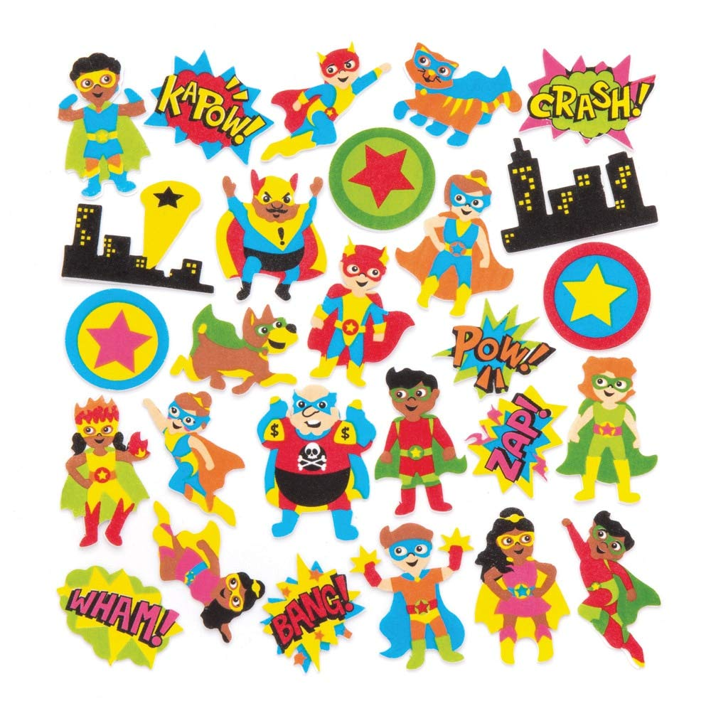 Pack of 120 Baker Ross Star Hero Foam Stickers for Children to Decorate Cards Crafts and Collage