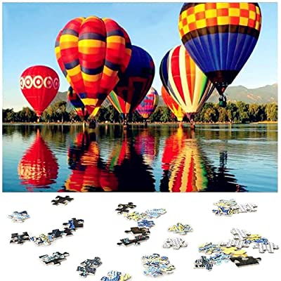 1000 Pieces Landscape Jigsaw Puzzles,Anmyox Riverside Hot Air Balloon Puzzle Toy for Adults Kids,DIY Collectibles Modern Home Decoration 27.56 x 19.69 Inch.: Toys & Games