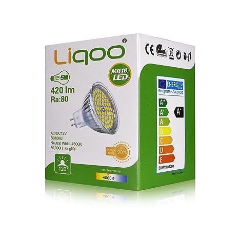 Liqoo® 10x 5W Bombilla LED MR16 12V Blanco Cálido 2800K 400Lm GU5.3 GX5
