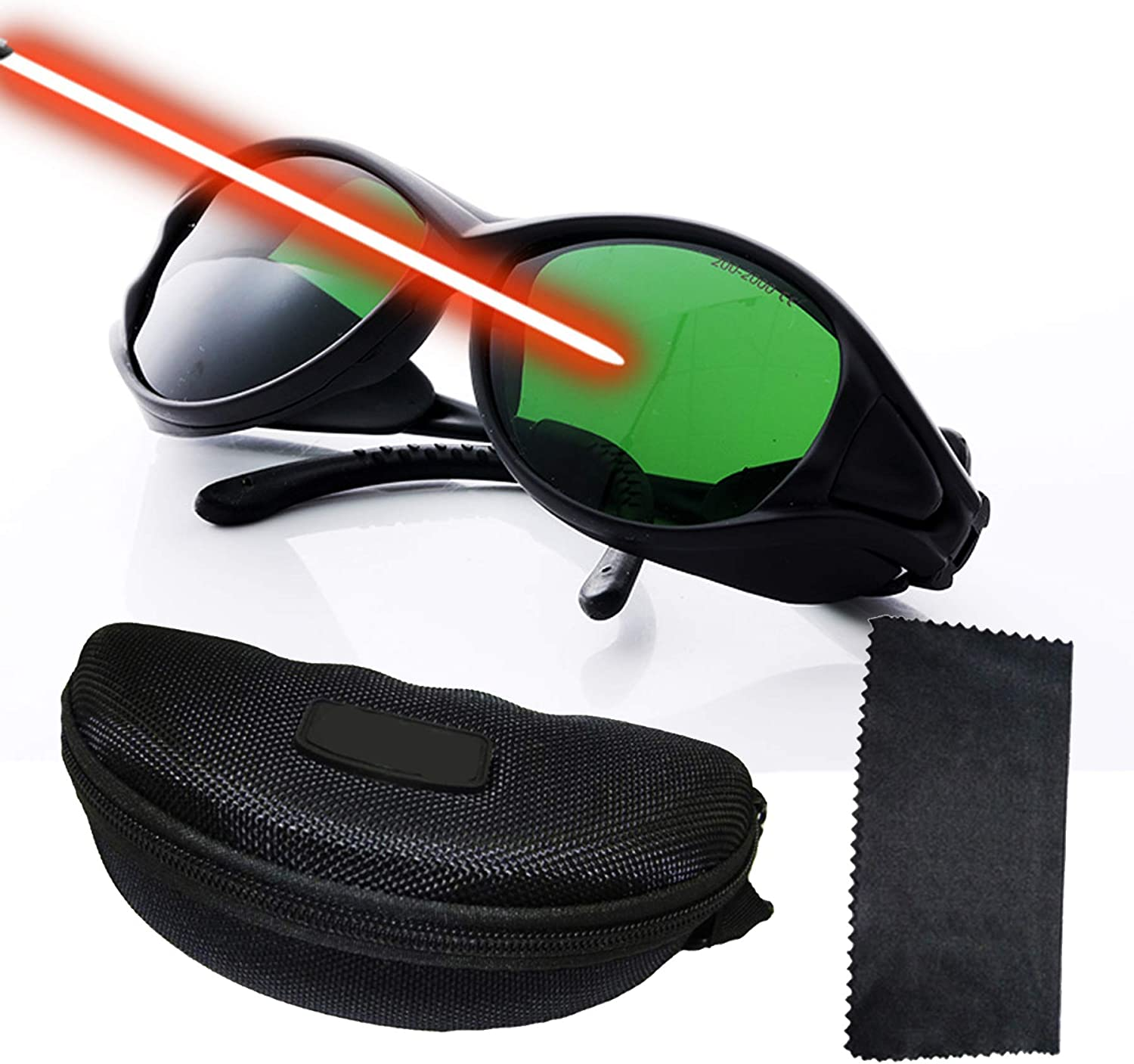 Professional Laser Safety Glasses for 405nm,445nm,450nm,532nm,850nm Laser and 190nm-490nm Wavelength Violet/Blue/Red Laser Protection Goggles