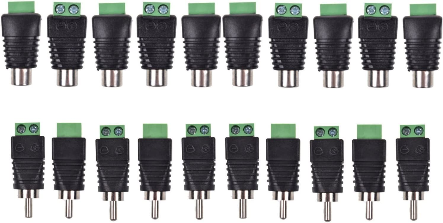 Lemoy 20-Pack Phono RCA Male and Female Plug to AV Screw Terminal Audio//Video Connector Adapter 10 Male /& 10 Female