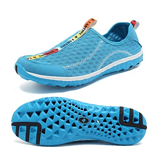 Womens Mens Quick Dry Mesh Slip On Aqua Water Sports Shoes Lightweight Athletic Walking Sneakers