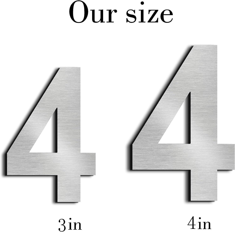 Schwimmendes Aussehen,Paste(0) nanly Moderne Hausnummer aus massivem hergestellt 304-GRO/ß 7.5cm//3 Zoll Geb/ürsteter Edelstahl