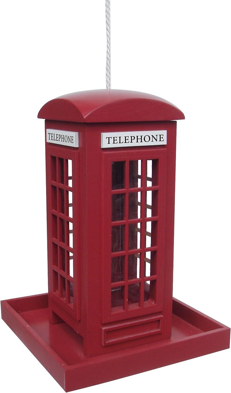 Garden Bazaar Tradicional Rojo de Cabina de teléfono de pájaro Feeder para Colgar