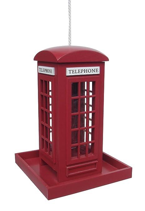Amazon.com: Traditional Red Telephone Phone Box Hanging Bird Feeder ...