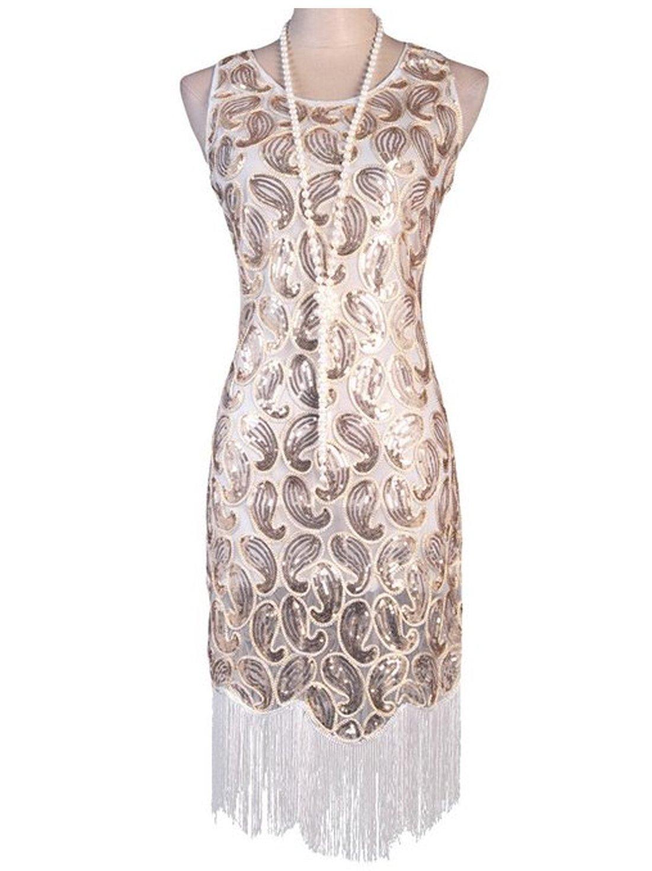 Vijiv Women's 1920s Gastby Sequined Embellished Fringed Paisley Flapper Dress, Noble White, Large
