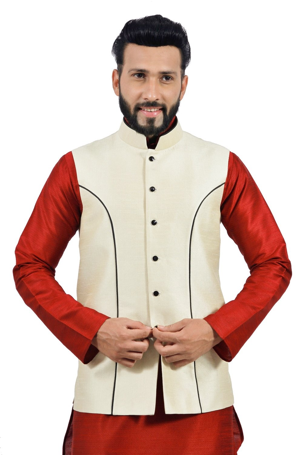Saris and Things Cream Nehru Jacket for Men by Saris and Things
