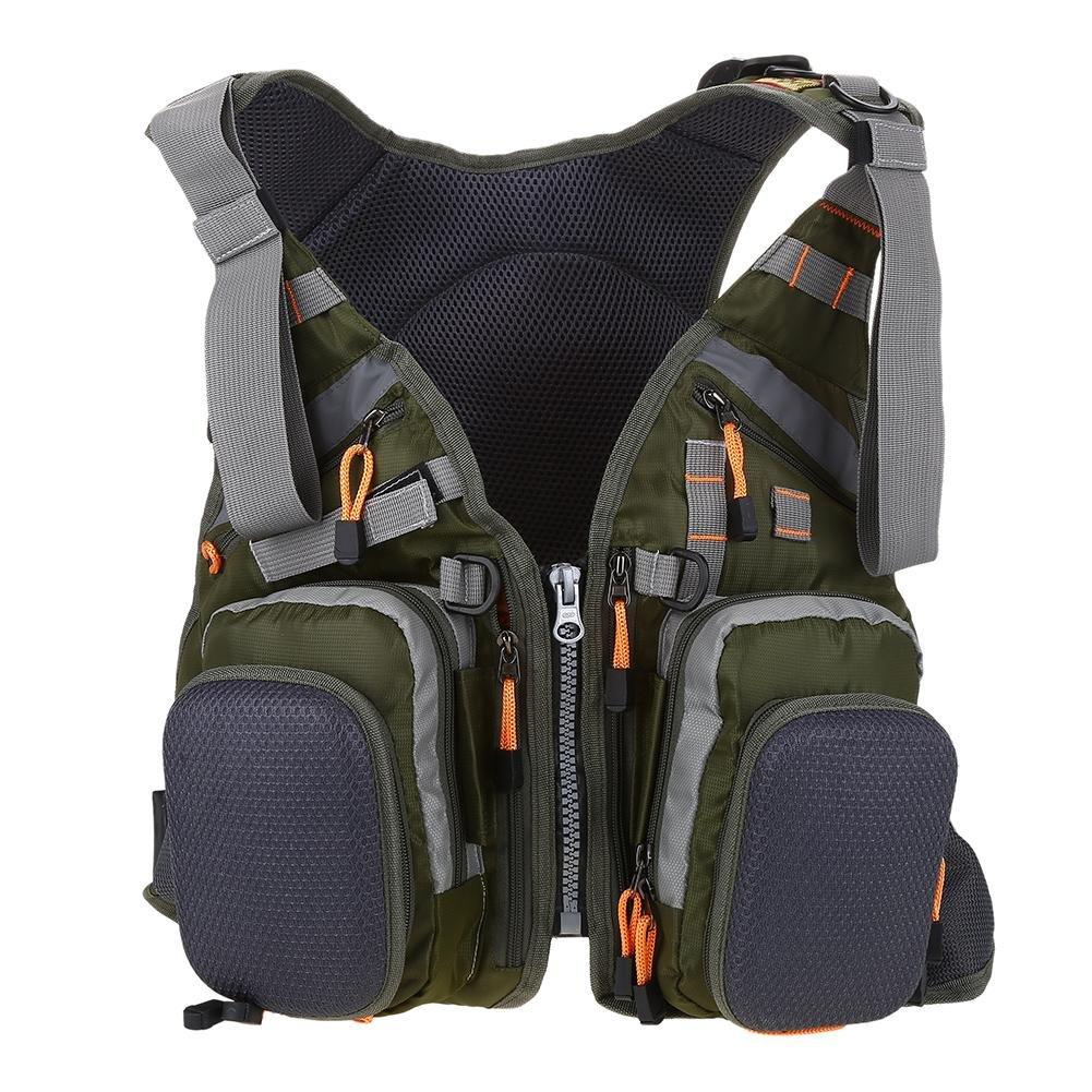 dilwe Lifeベストバックパック、3 in 1多機能アウトドア安全ライフベスト釣りジャケットスーツforウォータースポーツ  アーミーグリーン B07CTPB94L