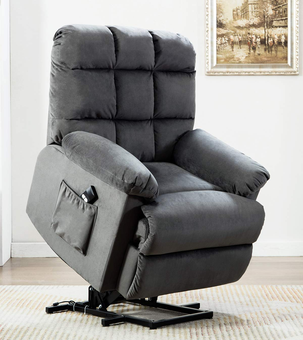 ANJ Power Lift Recliner Chair for Elderly with Over Stuffed Armrest and Comfort Broad Backrest, Remote Control for Gentle Motor, Bluish Grey by ANJ
