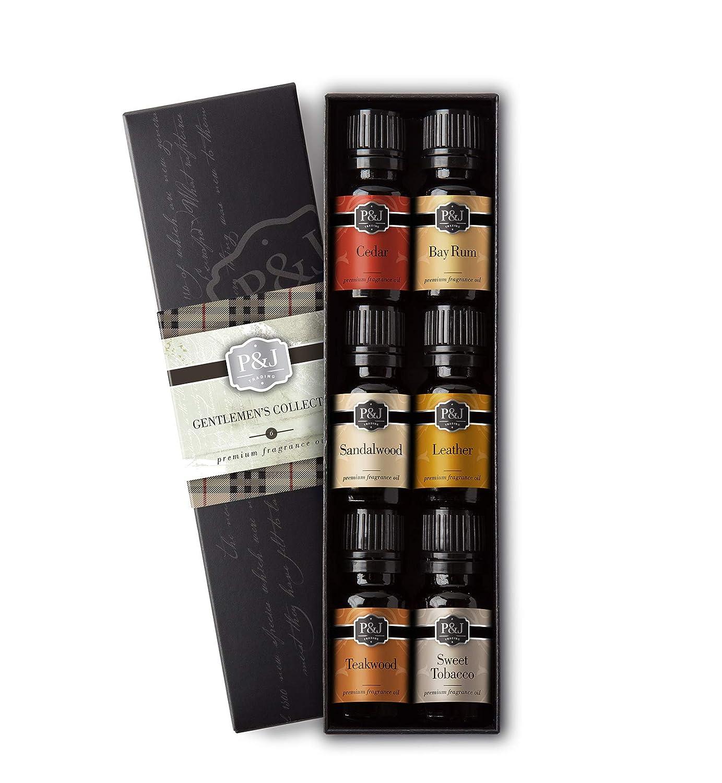 Gentlemen's Set of 6 Premium Grade Fragrance Oils - Leather, Sweet Tobacco, Teakwood, Bay Rum, Cedar, Sandalwood