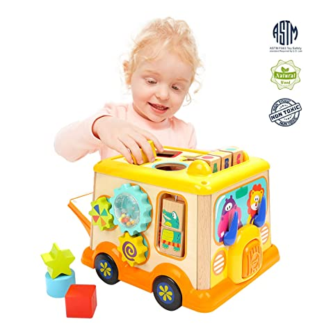 Amazon TOP BRIGHT Toys For 1 2 Year Old Boy And Girl Activity Cube Toddlers Educational Wooden Baby Birthday Gifts Games