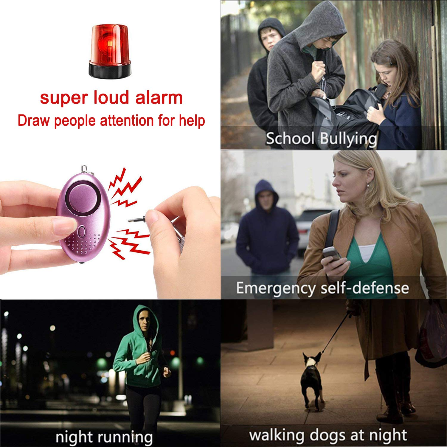 Personal Alarm Keychain 3 Pack Emergency Self-Defense Security Alarms with LED Light, 140DB Safe Sound Personal Alarm for Elderly Women Kids Night Workers