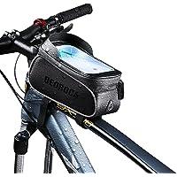 Bolsa para Bicicleta, com Suporte para Telefone Celular, Acessórios para Bicicleta Bolsa com Alça Frontal de Bicicleta…