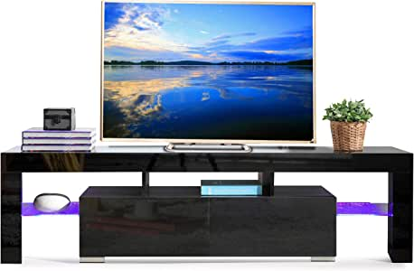 SUNCOO Base de TV Media Console Gabinete estantes LED con 2 ...