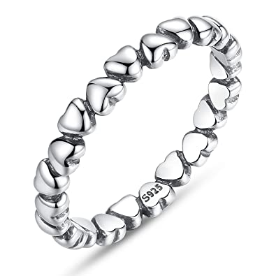 925 Sterling Silver Heart Stacking Ring eOAuC