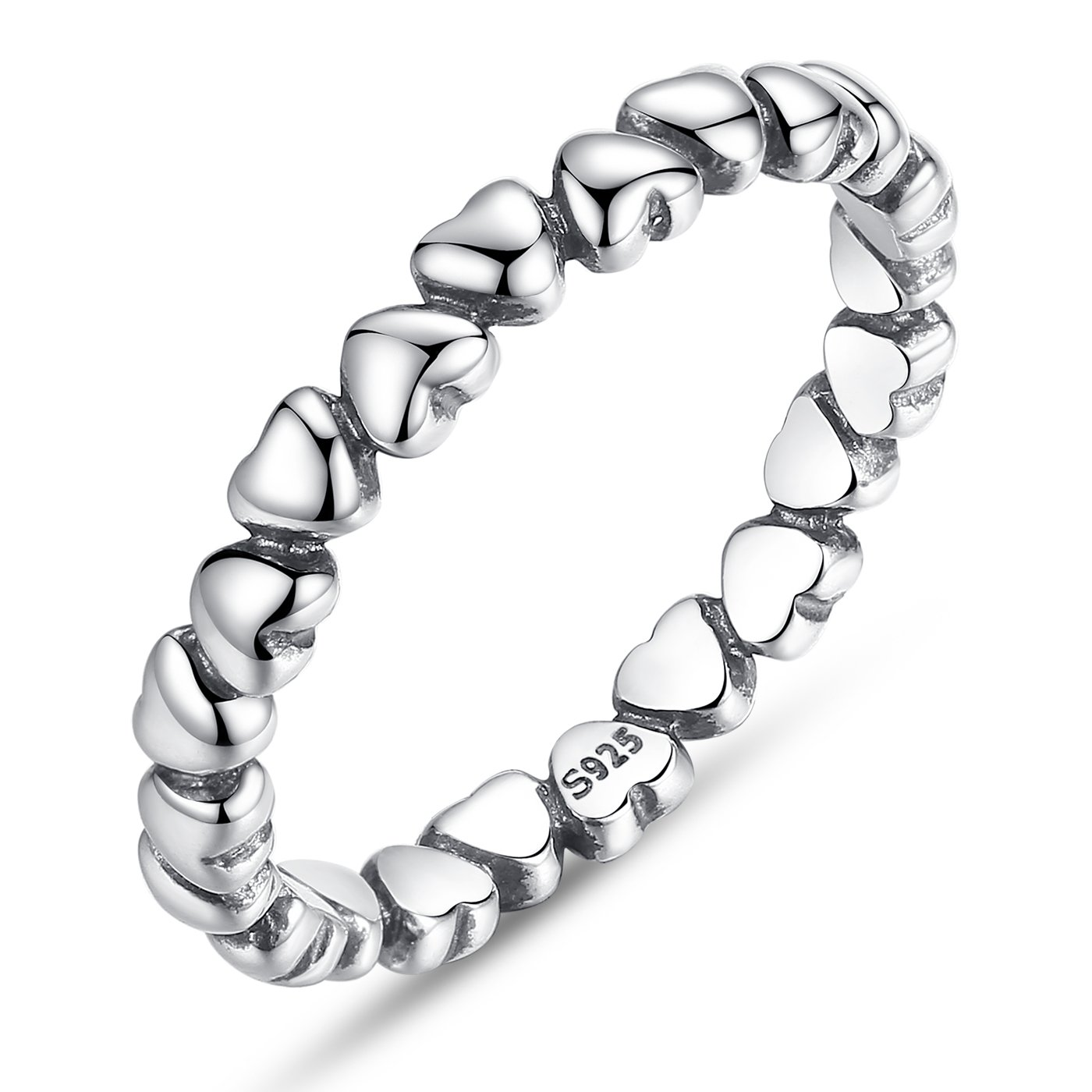BAMOER 925 Sterling Silver Endless Love Heart Stacking Ring for Women Teen Girls Birthday Anniversary Gift Size 6-9 (7)