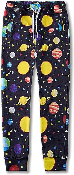 Acircle Little Boys Cartoon Print Cotton Joggers Pants Drawstring Elastic Sweatpants with Pocket Age 2-7T