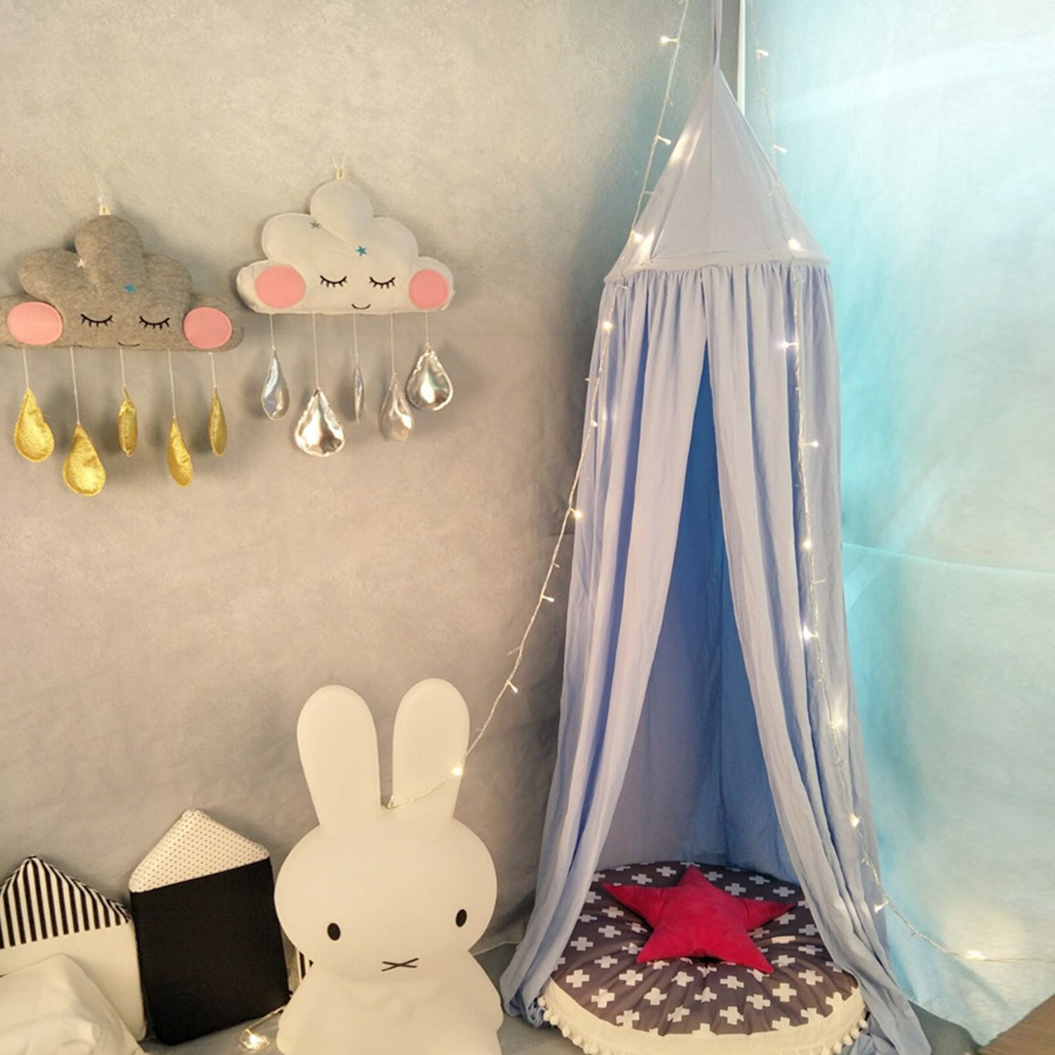 Yimii Round Dome Bed Canopy Mosquito Net, Block out Light Cotton Bed Curtains for Kids Baby Boy and Girls Grey