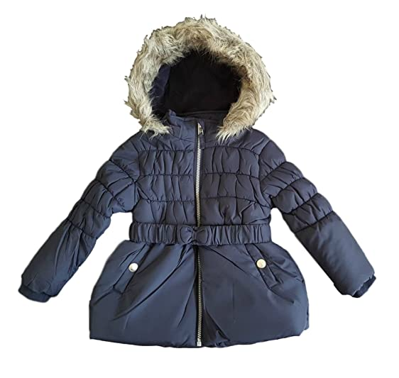 Mini B Girls Shower Resistant School Padded Fur Hood Coat 12 ...