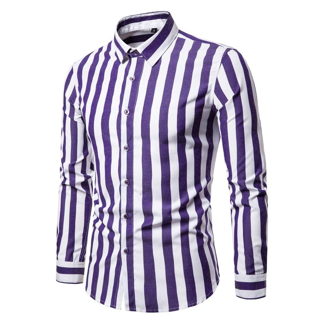 Winwinus Mens Business Botton Front Regular-Fit Fine Cotton Western Shirt