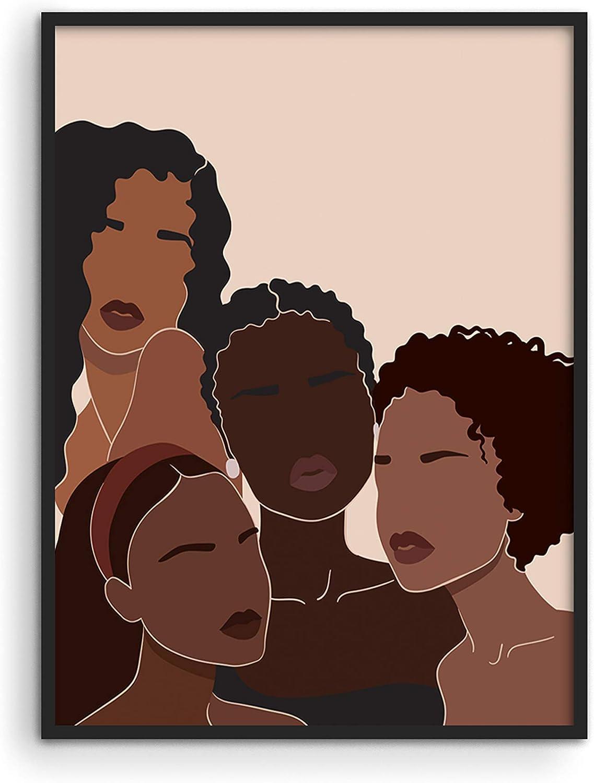 "HAUS AND HUES African American Women Painting for Walls African Art Wall Decor | Black Women Wall Art | Black Art Paintings for Wall | Black Woman Wall Art | (12"" x 16"", UNFRAMED)"