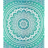 VAISHNAVI -QUEEN SIZE HUGE Hippy Tapestries from Canada Bohomein art Ombre GREEN psychedelic theme Indian hippie tapestries wall hangings Picknic blanket By Vaishnavi Creations Ethnic Decors