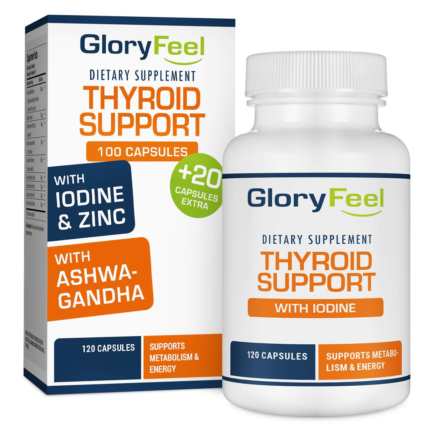 Thyroid Support Supplement with Iodine - Metabolism, Energy and Focus Formula - 60 Day Supply - Vegetarian & Non-GMO - Vitamin B12 Complex, Zinc, Selenium, Ashwagandha, Copper & More by Gloryfeel