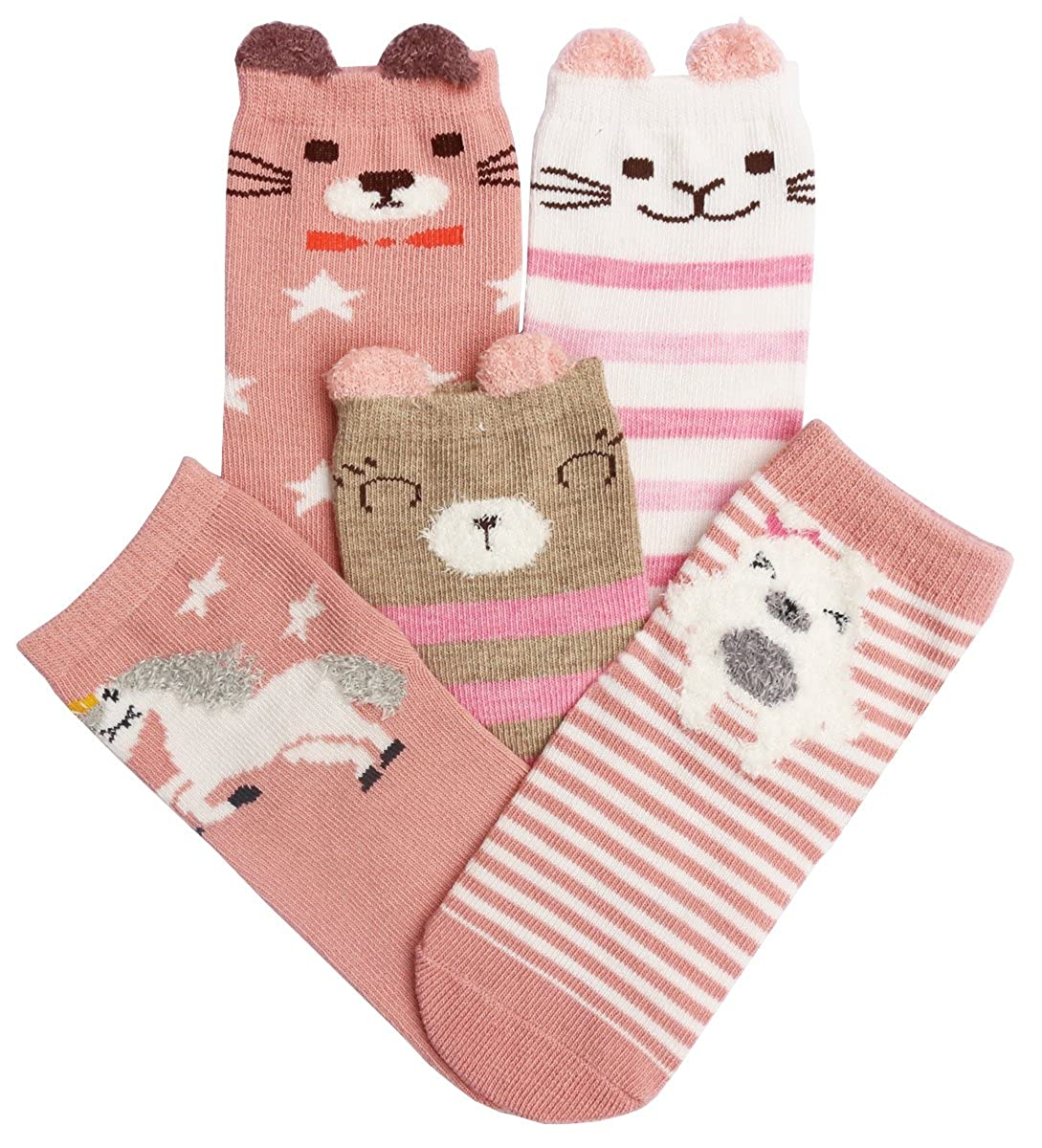 CHUNG Toddler Little Girls Cotton Crew Socks Cute Animal Pattern Pack of 5 1-10Y
