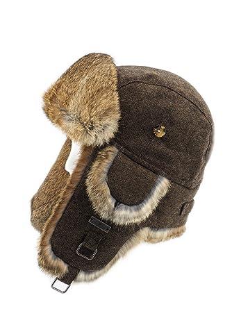 FUR WINTER Wool Blend Tweed Rabbit Fur Aviator Trapper Hat BRN L XL at  Amazon Men s Clothing store  d9cc727ee48