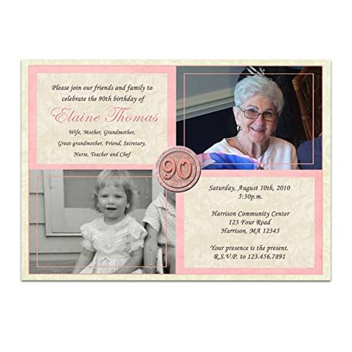 Pink Woman Photo Birthday Invitations 90th 80th 70th 60th Then Now