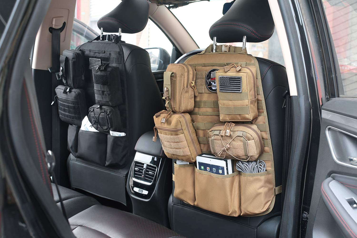 Upgraded Tactical Molle Vehicle Panel Universal Fit Car Seat Cover Protector Hupan Tactical Car Seat Back Organizer Tan