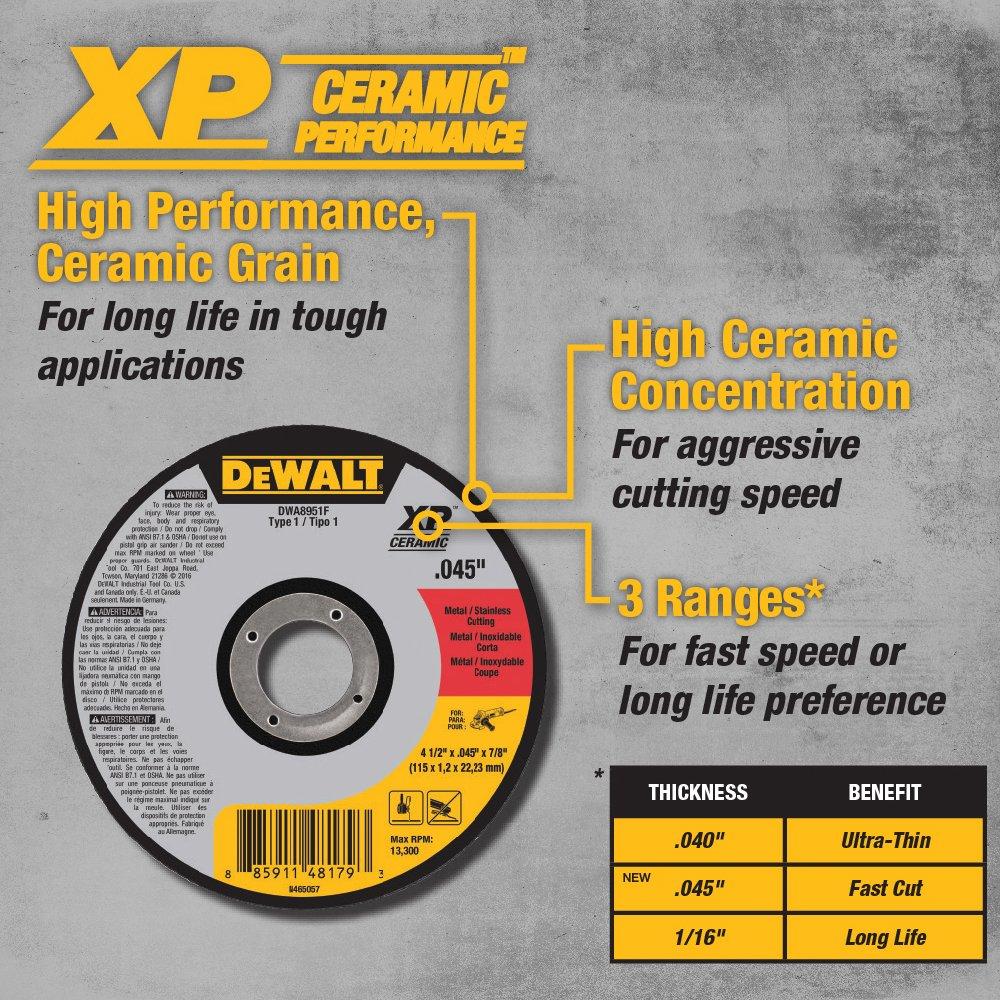 DEWALT DWA8957F T27 XP CER Fast Cut-Off Wheel 4-1//2 x 0.045 x 7//8