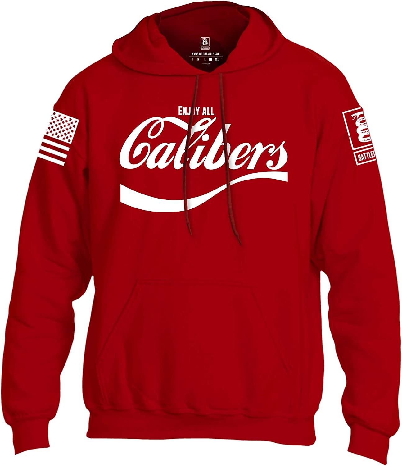 Battleraddle Enjoy All Calibers White Sleeve Print Mens Blended Hoodie with Pockets