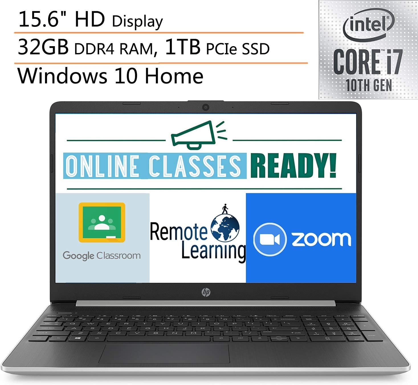"""2020 HP 15 15.6"""" Laptop Computer, 10th Gen Intel Quard-Core i7 1065G7 up to 3.9GHz, 32GB DDR4 RAM, 1TB PCIe SSD, 802.11AC WiFi, Microphone, Webcam, Online Class Ready, Windows 10, iPuzzle Mousepad"""