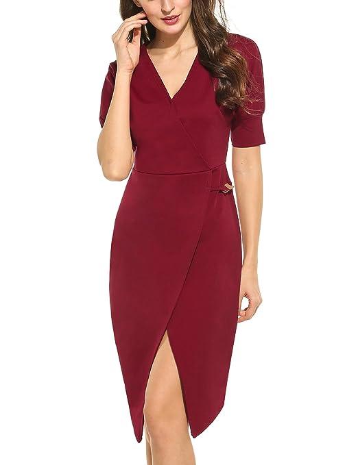 5620c799bf294 ACEVOG Damen Etuikleid Knielang mit Kurzarm Elegantes Kleid V-Ausschnitt  Bleistiftkleid Sommerkleid: Amazon.de: Bekleidung