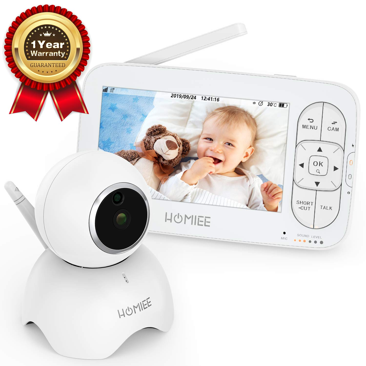HOMIEE Video Baby Monitor, with 720P Digital Camera, 5 LCD Screen up to 1000 Ft Range, Remote Camera Pan-Tilt-Zoom, Night Vision, Lullabies, Two-Way Audio Talk, Sound Temperature Alarm, Feeding Timer