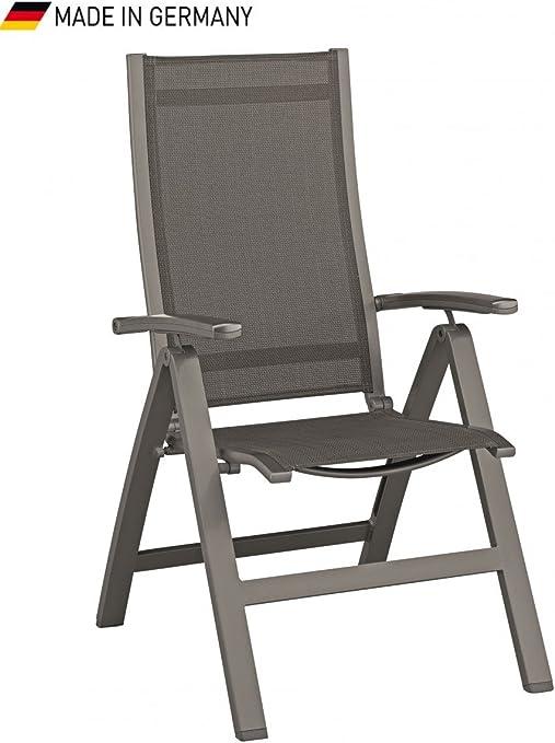 Dreams4Home Juego – Silla plegable 4 Lincoln II, silla, Tumbona, silla de jardín, silla plegable, silla plegable, sillón multiposición, respaldo alto, silla de terraza, balcón, jardín silla, (B/H/T) aprox. 69 x 63