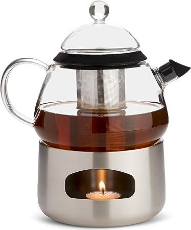 Elfin Tetera de cristal con infusor de té y calentador de tetera, estilo escandinavo, set de regalo