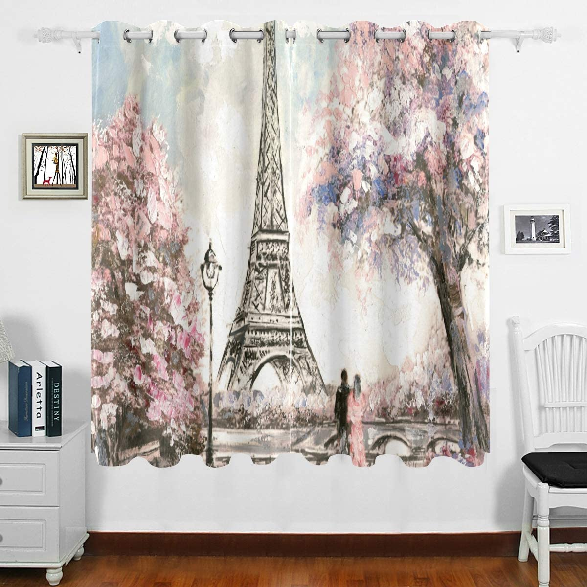 DOMIKING Bedroom Window Blackout Curtain - Street View of Paris Landscape Thermal Insulated Curtain Grommet Curtain Drapes Home Decor for Bedroom Living Room(63x55inch)