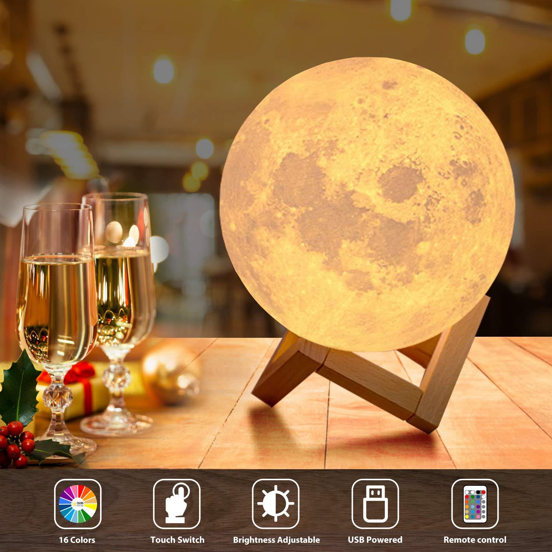 Lampada Luna 3D Stampata, OxyLED Diametro 18cm e 16 Colori, Ricarica USB