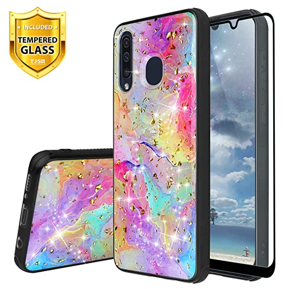 TJS Phone Case for Samsung Galaxy A20/Galaxy A30/Galaxy A50, with [Full Coverage Tempered Glass Screen Protector] Shiny Marble Glitter Back Skin Full ...