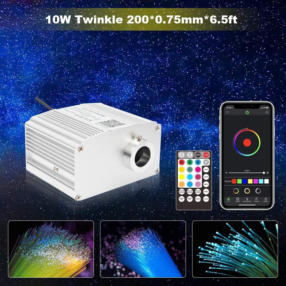 CHINLY Bluetooth Twinkle 10W RGBW APP/Remote LED Fiber Optic Star Ceiling Lights Kit 200pcs 0.75mm 6.5ft Optical Fiber+5 Crystals