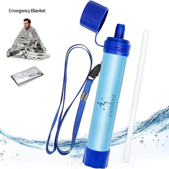 ioutdoor - Filtro de agua personal sin BPA con manta de emergencia ...