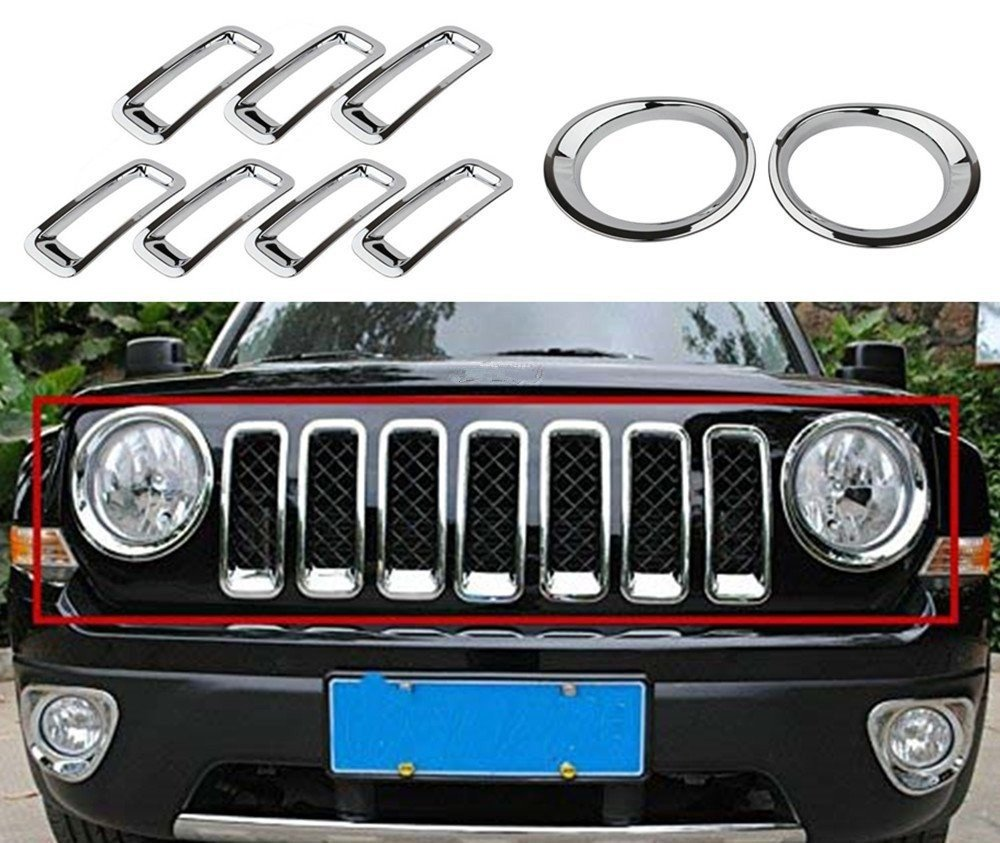 Bolaxin Chrome Silver Front Grille Grill Mesh Grille Insert Kit & Head Light Lamp Covers Trim for Jeep Patriot 2011-2017 9PCS